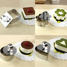 5 Flower Heart Shape Mould Mousse Ring Mold Stainless Steel Cake Cutter Bakeware