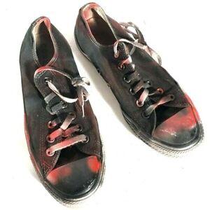 CONVERSE x Custom Size 9 womens 7 mans  All Star Black Red Graffiti Grunge Boho