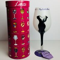 Lolita Love My Wine Little Black Dress Wine Glass 15 oz Hand Painted Recipe New