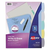 Avery Write & Erase Big Tab Plastic Dividers, 5-Tab, Multicolor, Letter