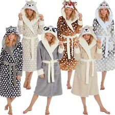 Ladies/Girls Animal Novelty Fleece Robe/Dressing Gown With Hood S-XL Size 8-22