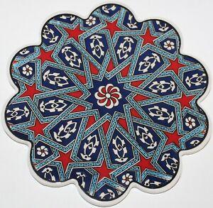 """7"""" Turkish Iznik Selcuk Geometric Pattern Ceramic Hot Plate Trivet Tile"""