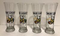 "Set of 4 Bud Light Spuds McKenzie Football 7.25"" Pilsner Glasses"