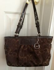 Coach F13762 East West Op Art Pleated Rare Chocolate Brown Gallery Tote Bag