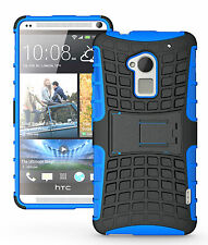Blue Heavy Duty Strong Tradesman Hard TPU Case Cover Stand for HTC One Max