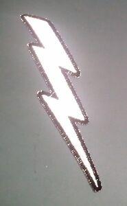 "RIGHT REFLECTIVE Lightning Bolt 1.5"" x 5"" iron on patch (3455) Biker (A43)"