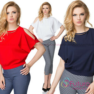 Women's Elegant Cut Out Sleeves Blouse Crew Neck with Necklace Loose Top FK1562