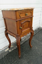 French Marble Top Tall Carved Nightstand Side End Table 1060