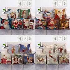 Classical Santa Claus Taking Gift Box Decorative Pillow Case Xmas Cushion Cover