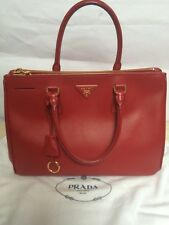 Authentic PRADA Saffiano Leather Fuoco Red Double Zip Lux Women s Tote Hand  Bag 3cc553711b048