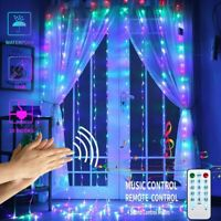LED Curtain Lights with Voice Activated USB Powered 300 LED Fairy String