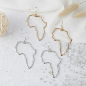 Cute Alloy Africa Map Ethnic Afrocentric Tribal Hook Drop Earrings GiftsB.AU