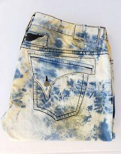 New Men's ROBIN'S JEAN sz 42 Long Flap Slim Straight Bleached Jeans