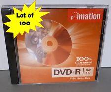 Imation DVD-R 16X 4.7GB w/Standard Jewel Case Lot of 100