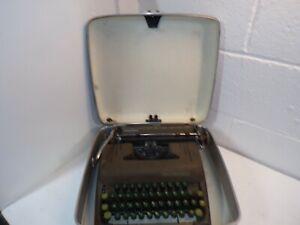 Vtg 1950's Smith Corona Silent Typewriter Green Keys Working w/Case #5S298430