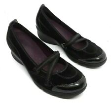 Clarks Privo Womens 6 M Casual Shoes Black Mary Jane heels Seude Leather Chunky