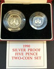 1990 United Kingdom Five Pence Silver Proof Two Coin Set