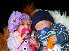 "Reborn Twin Babies Boy & Girl Doll Preemie 15"" Washable Berenguer Life Like"