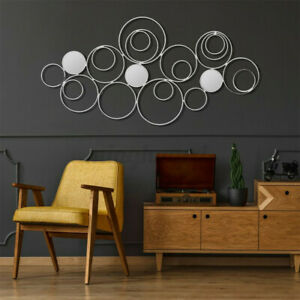 Large Metal Wall Art Sculpture For Eternal Swirl Home Ornement Silver Gift UK