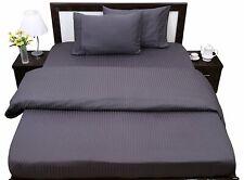 Attached Waterbed Sheet Set - Soft Pima Cotton 1000 TC Dark Grey Stripe