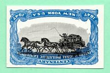 Inverted Vignette Error from 1947 OldUS Stamp Imperf NoGum UpsideDown Stagecoach
