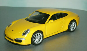 1/38 Scale 2012 Porsche 911 Carrera S Diecast Model 991 Coupe Welly 43661 Yellow