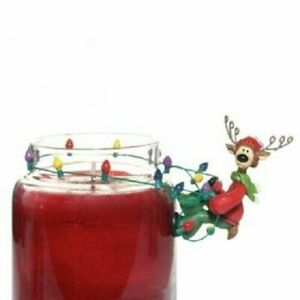 YANKEE CANDLE Reindeer w/String of Christmas Lights Jar Clinger/Charm, NWT