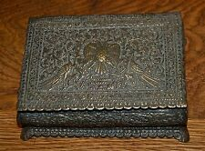Antique jewellery box metal trinket ruby sapphire accents double-headed eagle