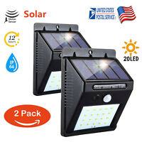 2PK Outdoor 20 LED Solar Power Wall Light PIR Motion Sensor Garden Security Lamp