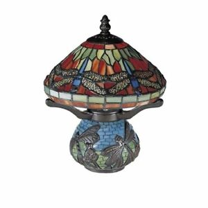 Dale Tiffany 10.25 in. Red Dragonfly Antique Bronze Accent Lamp Art Glass 8774