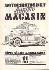 Motorhistoriskt Magasin Annon Swedish Car Magazine 11 1985 Plymouth 032717nonDBE
