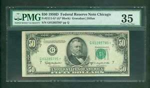FR#2111-G* 1950-D $50 SCARCE CHICAGO LOW SERIAL STAR NOTE PMG CHOICE VF 35!!!