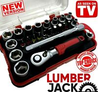 "Lumberjack 1/4"" Drive Metric Socket & Bit Set 25 Piece Ratchet & Case"