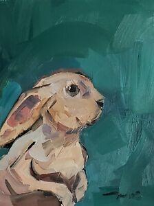 JOSE TRUJILLO Oil Painting IMPRESSIONISM BUNNY CONTEMPORARY ORIGINAL ARTIST