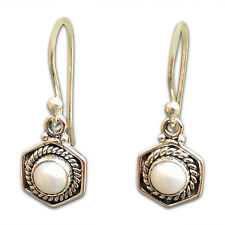 925 Sterling Silver Hexagon Earring with Fresh Water Pearl Free UK Delivery