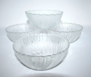 """Arcoroc Clear Seabreeze Swirl 5 1/4"""" Fruit Salad Ice Cream Cereal Bowls Set of 4"""