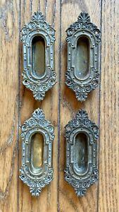 Set of 4 Eastlake Victorian Ornate Brass Pocket Door Pulls or Handles Hardware