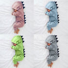 Newborn Infant Baby Boy Girl Dinosaur Hooded Romper Jumpsuit Clothes Outfit New