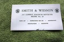 Smith & Wesson .357 Revolver Model 19 Owners Guide Manual, tri fold,  good ref
