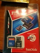 NEW & SEALED * SANDISK 1 GB MEMORY CARD WITH ADAPTERS (3 in 1 Verizon Wireless)