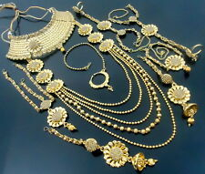 LCT KUNDAN CZ GOLD TONE SOUTH INDIAN BRIDAL DULHAN BOLLYWOOD JEWELRY SET 9 PCS