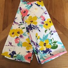 TT&Lola Kitchen Towels Purple Aqua Blue Pink Yellow Ball Trim Floral Cotton