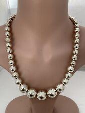 Collar de bolas de plata maciza calibre Grande, 925