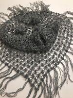 Scarf Triangle Shawl Wrap crochet Gray Glitter Metallic Mohair Wool Yarn Gift