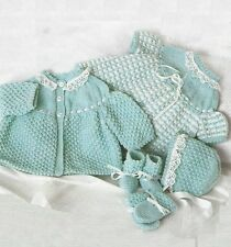"Baby Dress Coat Bonnet Bootees Mittens Knitting Pattern DK 16-22"" 671"
