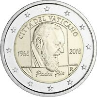 Vatikan 2 Euro 2018 Pater Pio Gedenkmünze Stempelglanz Padre Pio im Folder