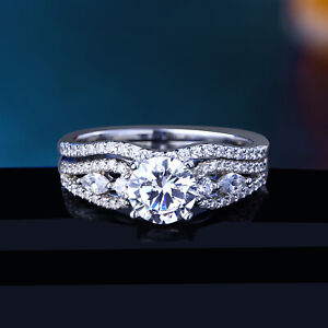 Engagement Wedding Ring Set For Women Round White Cz 925 Sterling Silver Size 8