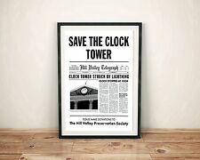 Framed Back to the Future Save the Clock Tower Flyer Movie Prop Gift Art McFly
