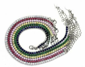 Solid Sterling Silver Tennis Anklets Simulated Precious Stones 2.5mm 9 inches