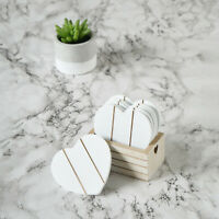 Set of 6 Wooden Coasters Heart Drinks Shabby Chic White Coaster Natural Wood